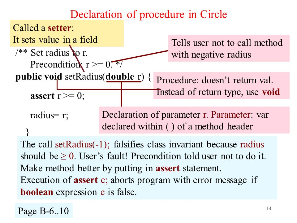 Declaration of procedure in Circle 14 /** Set radius to r.