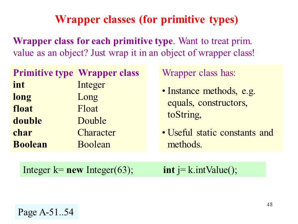 Wrapper classes (for primitive types) 48 Wrapper class for each primitive type.