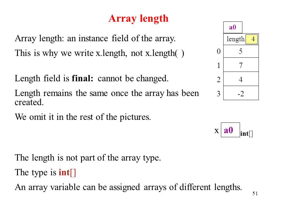 Array length 51 Array length: an instance field of the array.