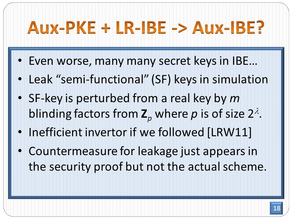 18 Even worse, many many secret keys in IBE… Leak semi-functional (SF) keys in simulation SF-key is perturbed from a real key by m blinding factors from Z p where p is of size 2.