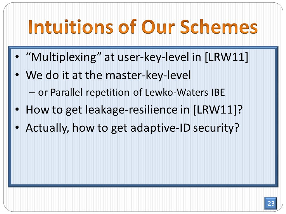 23 Multiplexing at user-key-level in [LRW11] We do it at the master-key-level – or Parallel repetition of Lewko-Waters IBE How to get leakage-resilience in [LRW11].