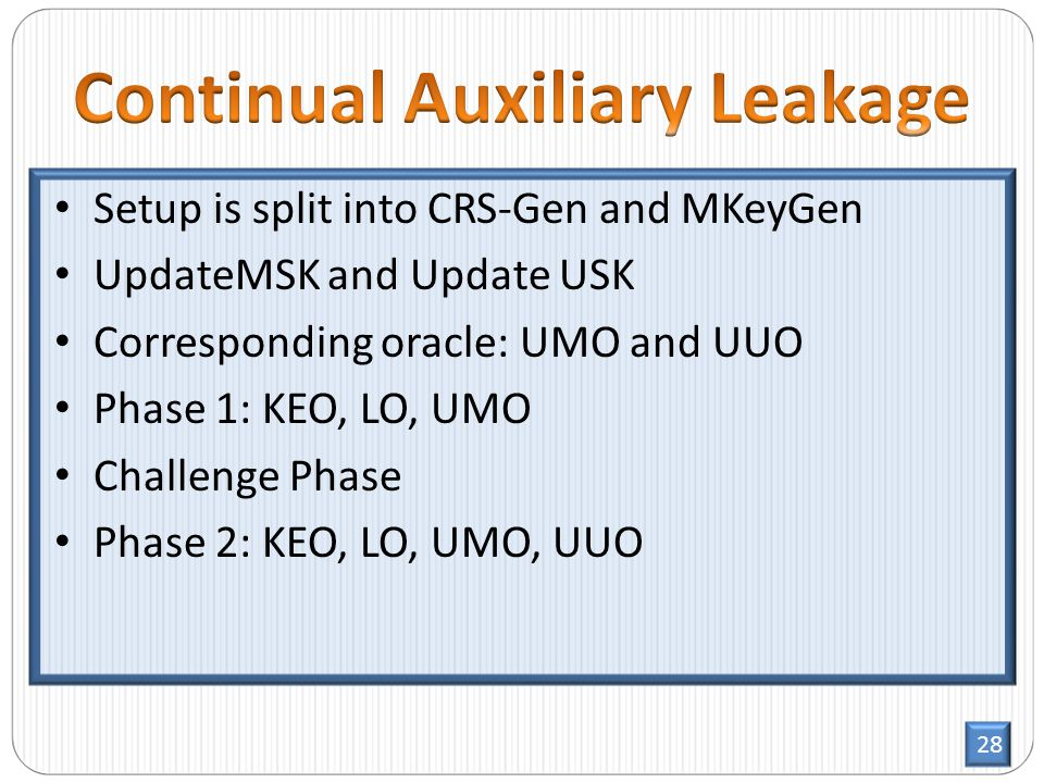 28 Setup is split into CRS-Gen and MKeyGen UpdateMSK and Update USK Corresponding oracle: UMO and UUO Phase 1: KEO, LO, UMO Challenge Phase Phase 2: KEO, LO, UMO, UUO