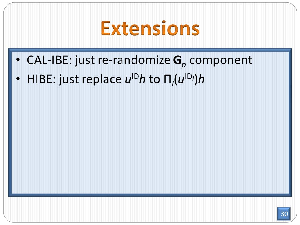 30 CAL-IBE: just re-randomize G p component HIBE: just replace u ID h to Π i (u ID i )h