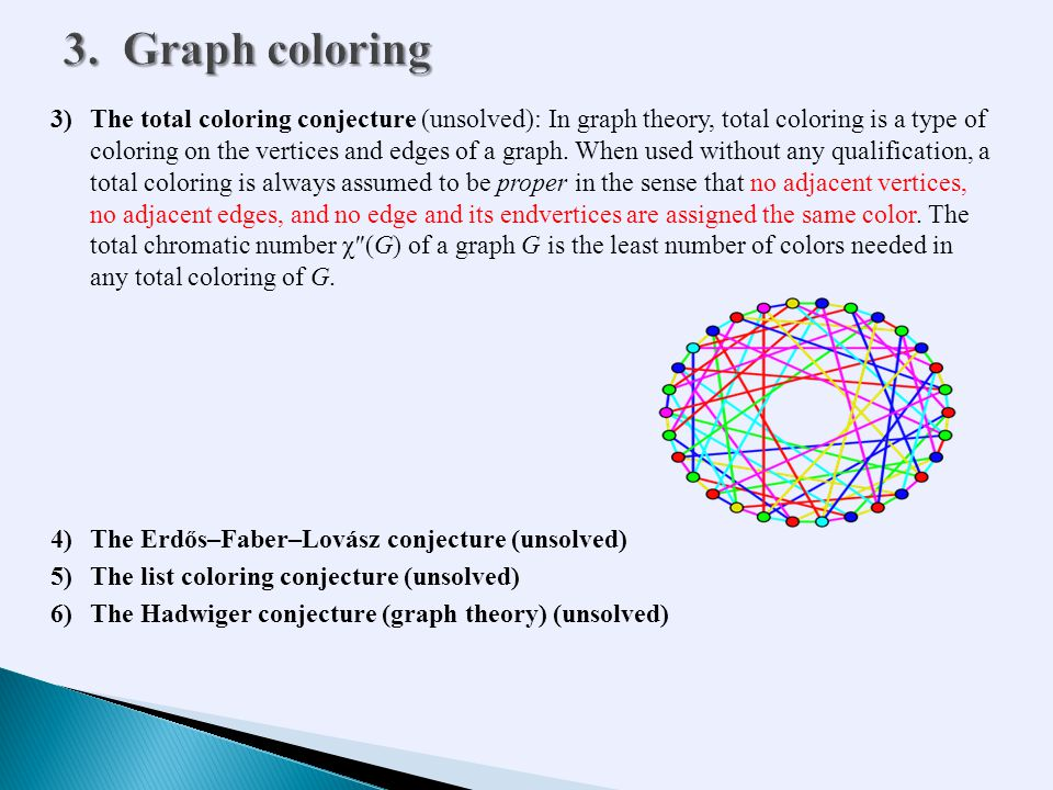 3)The total coloring conjecture (unsolved): In graph theory, total coloring is a type of coloring on the vertices and edges of a graph.