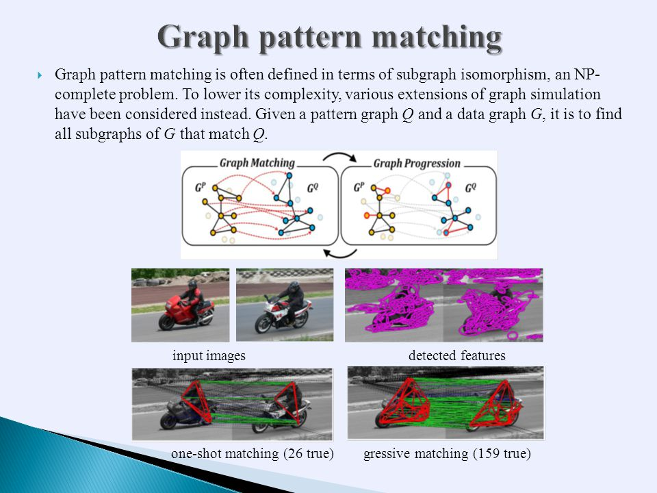  Graph pattern matching is often defined in terms of subgraph isomorphism, an NP- complete problem.