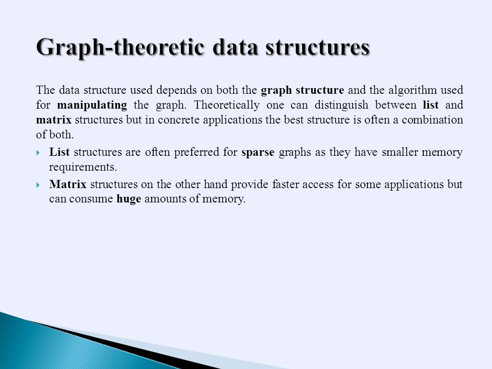 The data structure used depends on both the graph structure and the algorithm used for manipulating the graph.