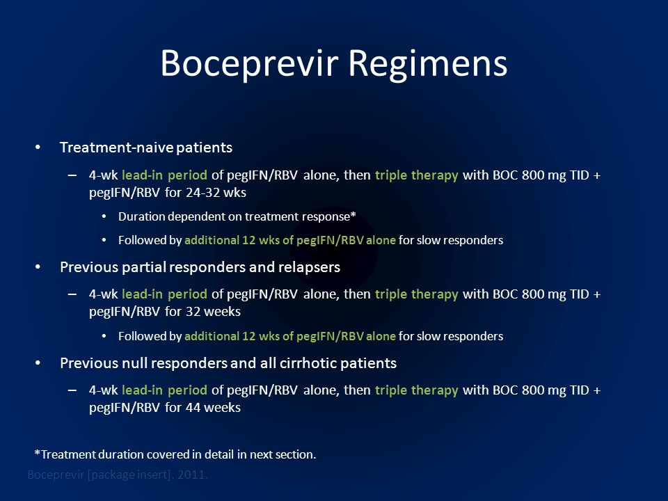 Boceprevir Regimens Treatment-naive patients – 4-wk lead-in period of pegIFN/RBV alone, then triple therapy with BOC 800 mg TID + pegIFN/RBV for 24-32 wks Duration dependent on treatment response* Followed by additional 12 wks of pegIFN/RBV alone for slow responders Previous partial responders and relapsers – 4-wk lead-in period of pegIFN/RBV alone, then triple therapy with BOC 800 mg TID + pegIFN/RBV for 32 weeks Followed by additional 12 wks of pegIFN/RBV alone for slow responders Previous null responders and all cirrhotic patients – 4-wk lead-in period of pegIFN/RBV alone, then triple therapy with BOC 800 mg TID + pegIFN/RBV for 44 weeks Boceprevir [package insert].