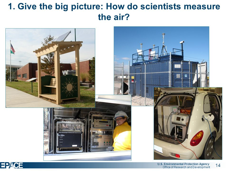 14 U.S. Environmental Protection Agency Office of Research and Development 1. Give the big picture: How do scientists measure the air? Check out our p