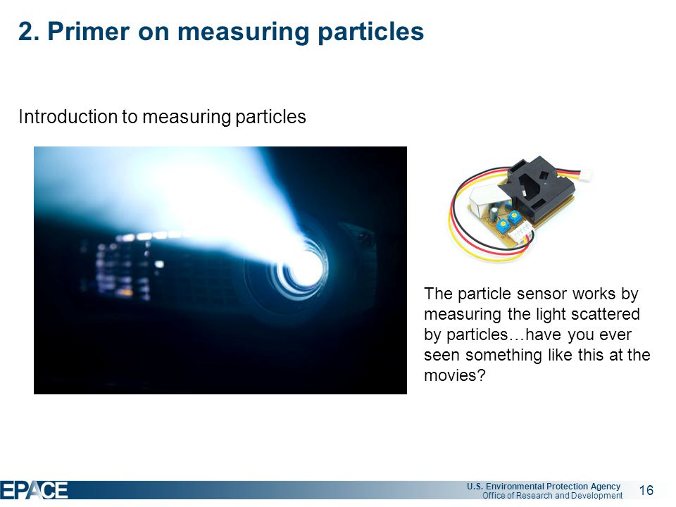 16 U.S. Environmental Protection Agency Office of Research and Development 2. Primer on measuring particles Introduction to measuring particles The pa