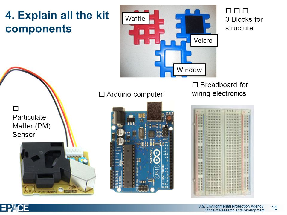 19 U.S. Environmental Protection Agency Office of Research and Development  Particulate Matter (PM) Sensor  Arduino computer  Breadboard for wiring