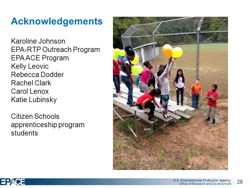 28 U.S. Environmental Protection Agency Office of Research and Development Acknowledgements Karoline Johnson EPA-RTP Outreach Program EPA ACE Program
