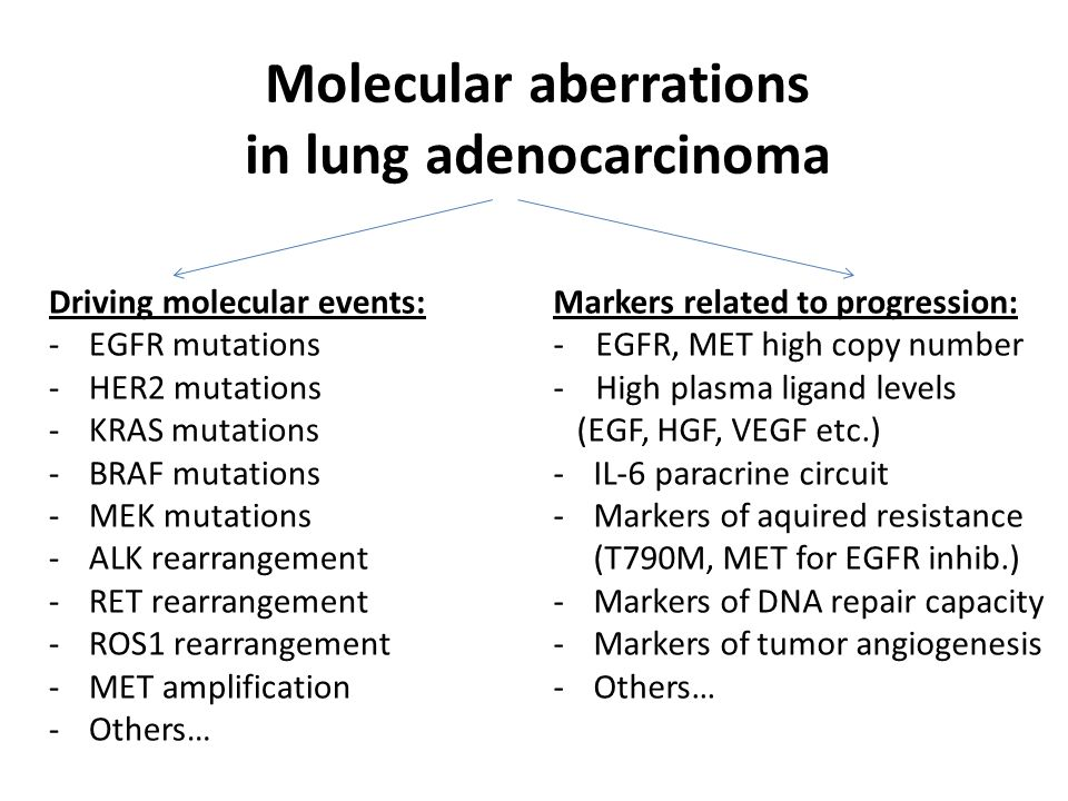 Molecular aberrations in lung adenocarcinoma Driving molecular events: -EGFR mutations -HER2 mutations -KRAS mutations -BRAF mutations -MEK mutations -ALK rearrangement -RET rearrangement -ROS1 rearrangement -MET amplification -Others… Markers related to progression: - EGFR, MET high copy number - High plasma ligand levels (EGF, HGF, VEGF etc.) -IL-6 paracrine circuit -Markers of aquired resistance (T790M, MET for EGFR inhib.) -Markers of DNA repair capacity -Markers of tumor angiogenesis -Others…