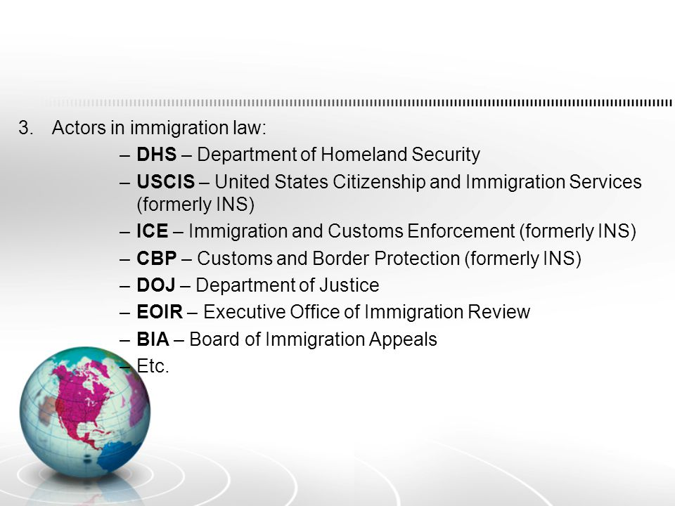 3.Actors in immigration law: –DHS – Department of Homeland Security –USCIS – United States Citizenship and Immigration Services (formerly INS) –ICE – Immigration and Customs Enforcement (formerly INS) –CBP – Customs and Border Protection (formerly INS) –DOJ – Department of Justice –EOIR – Executive Office of Immigration Review –BIA – Board of Immigration Appeals –Etc.