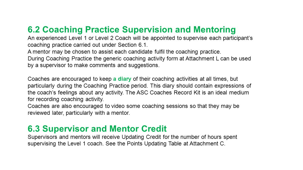 6.2 Coaching Practice Supervision and Mentoring An experienced Level 1 or Level 2 Coach will be appointed to supervise each participant's coaching pra