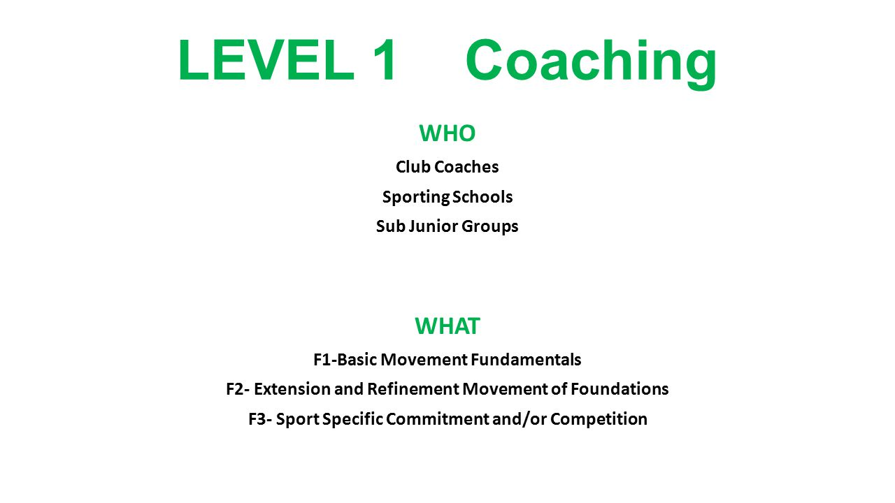 LEVEL 1 Coaching WHO Club Coaches Sporting Schools Sub Junior Groups WHAT F1-Basic Movement Fundamentals F2- Extension and Refinement Movement of Foun