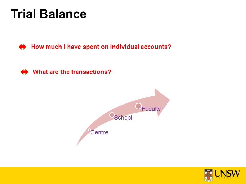 Trial Balance How much I have spent on individual accounts? What are the transactions? Centre School Faculty