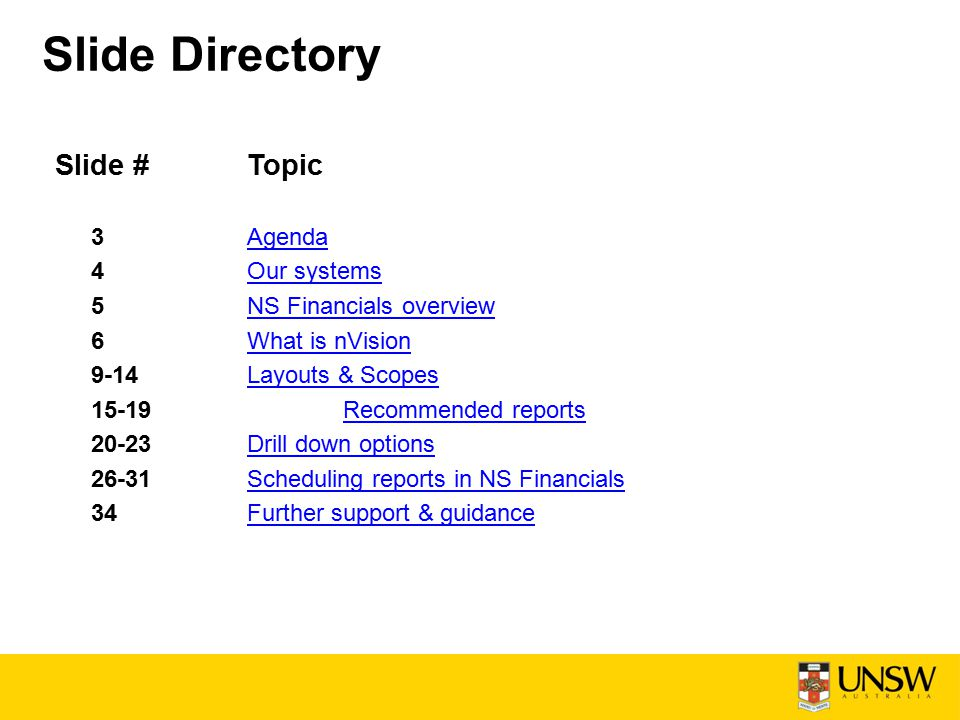 Slide #Topic 3AgendaAgenda 4Our systemsOur systems 5NS Financials overviewNS Financials overview 6What is nVisionWhat is nVision 9-14Layouts & ScopesLayouts & Scopes 15-19Recommended reportsRecommended reports 20-23Drill down optionsDrill down options 26-31Scheduling reports in NS FinancialsScheduling reports in NS Financials 34Further support & guidanceFurther support & guidance Slide Directory