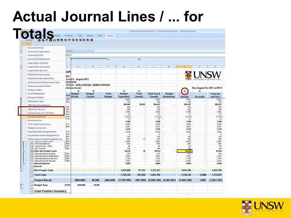Actual Journal Lines /... for Totals