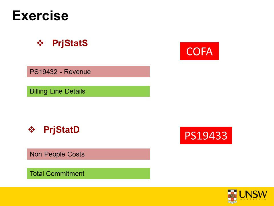 Exercise  PrjStatS COFA PS19432 - Revenue Billing Line Details Non People Costs Total Commitment  PrjStatD PS19433