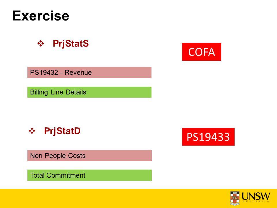 Exercise  PrjStatS COFA PS19432 - Revenue Billing Line Details Non People Costs Total Commitment  PrjStatD PS19433