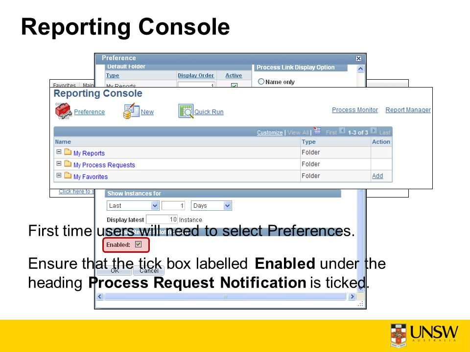 Reporting Console First time users will need to select Preferences.