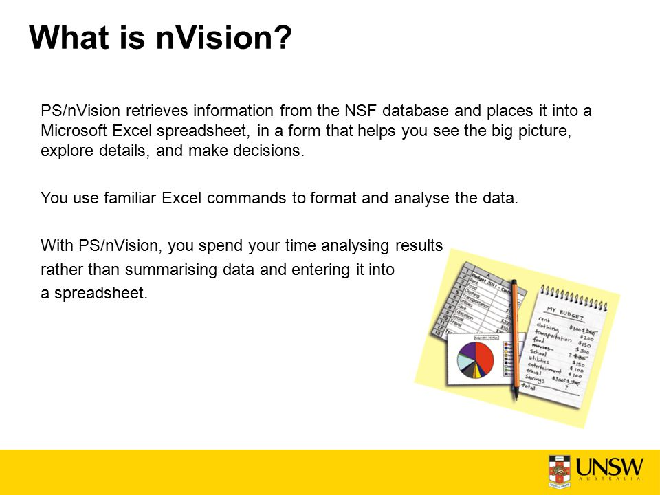 PS/nVision retrieves information from the NSF database and places it into a Microsoft Excel spreadsheet, in a form that helps you see the big picture, explore details, and make decisions.