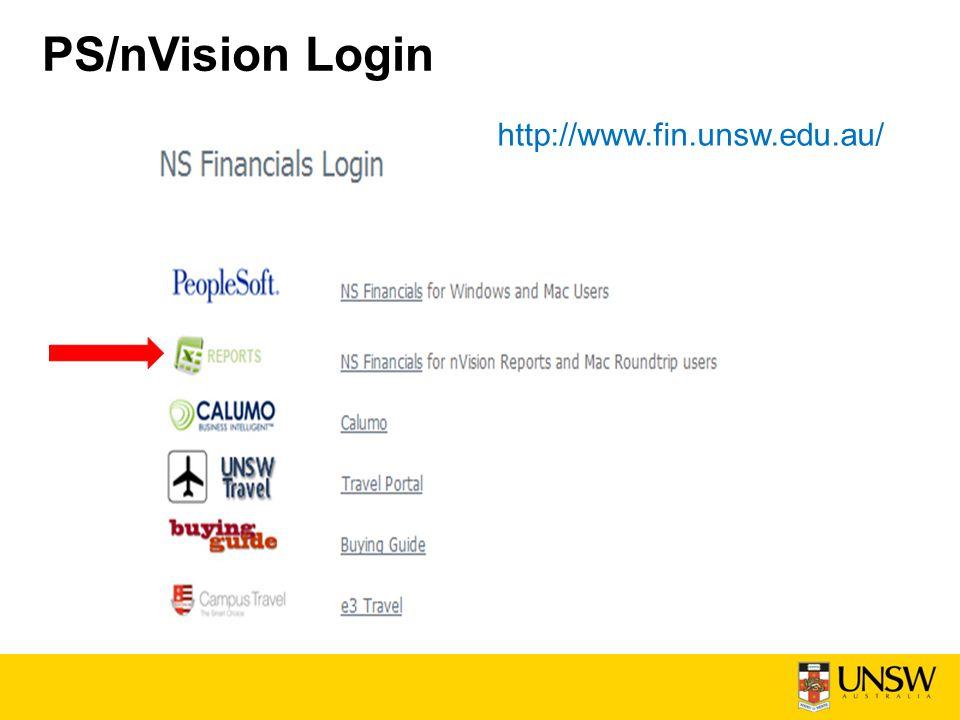 PS/nVision Login http://www.fin.unsw.edu.au/