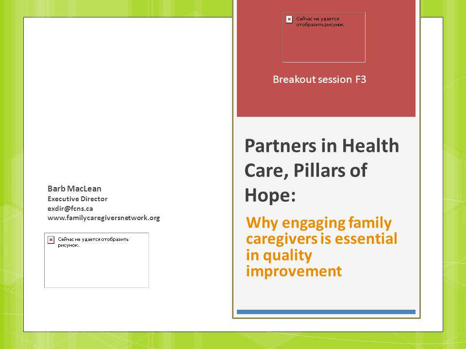 Partners in Health Care, Pillars of Hope: Why engaging family caregivers is essential in quality improvement Breakout session F3 Barb MacLean Executive Director exdir@fcns.ca www.familycaregiversnetwork.org