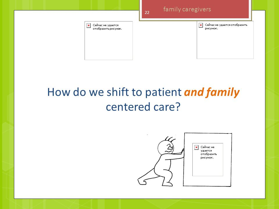 How do we shift to patient and family centered care family caregivers 22