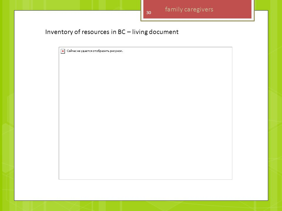 Inventory of resources in BC – living document 30