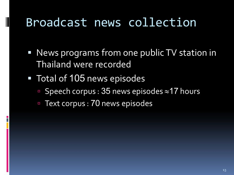 Broadcast news collection  News programs from one public TV station in Thailand were recorded  Total of 105 news episodes  Speech corpus : 35 news