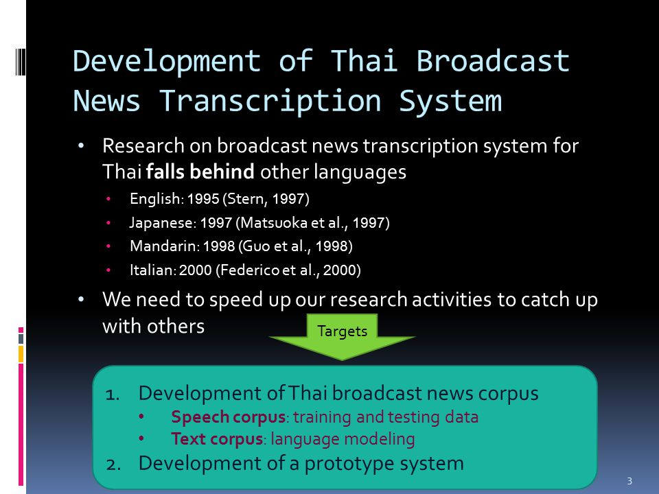 Development of Thai Broadcast News Transcription System Research on broadcast news transcription system for Thai falls behind other languages English: 1995 (Stern, 1997 ) Japanese: 1997 (Matsuoka et al., 1997 ) Mandarin: 1998 (Guo et al., 1998 ) Italian: 2000 (Federico et al., 2000 ) We need to speed up our research activities to catch up with others 3 Targets 1.Development of Thai broadcast news corpus Speech corpus: training and testing data Text corpus: language modeling 2.Development of a prototype system