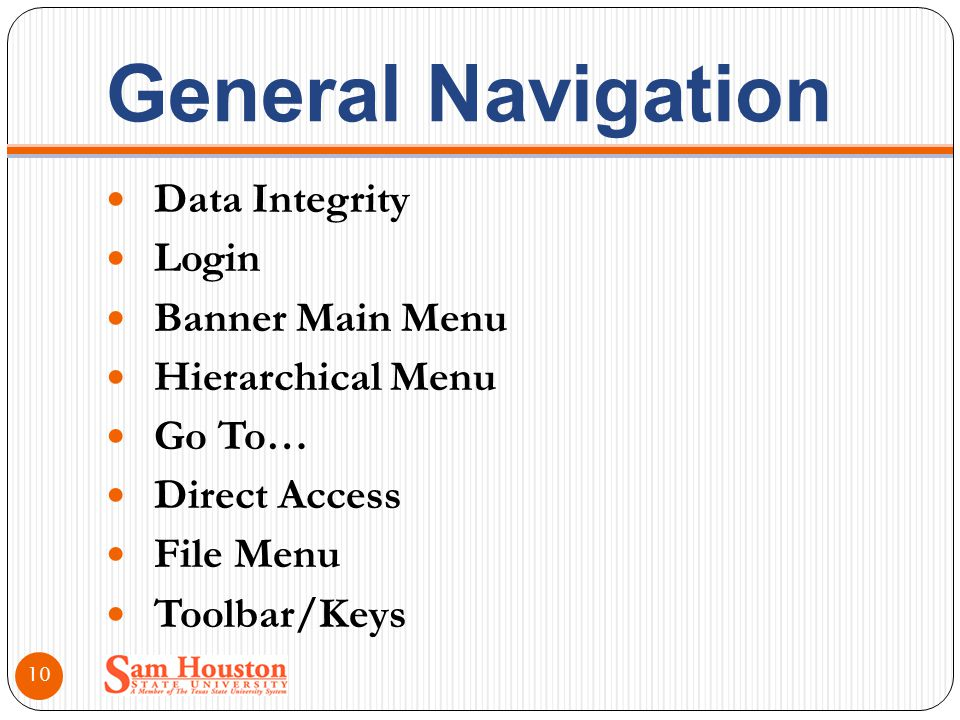 General Navigation Data Integrity Login Banner Main Menu Hierarchical Menu Go To… Direct Access File Menu Toolbar/Keys 10