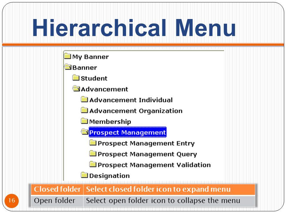 Hierarchical Menu 16