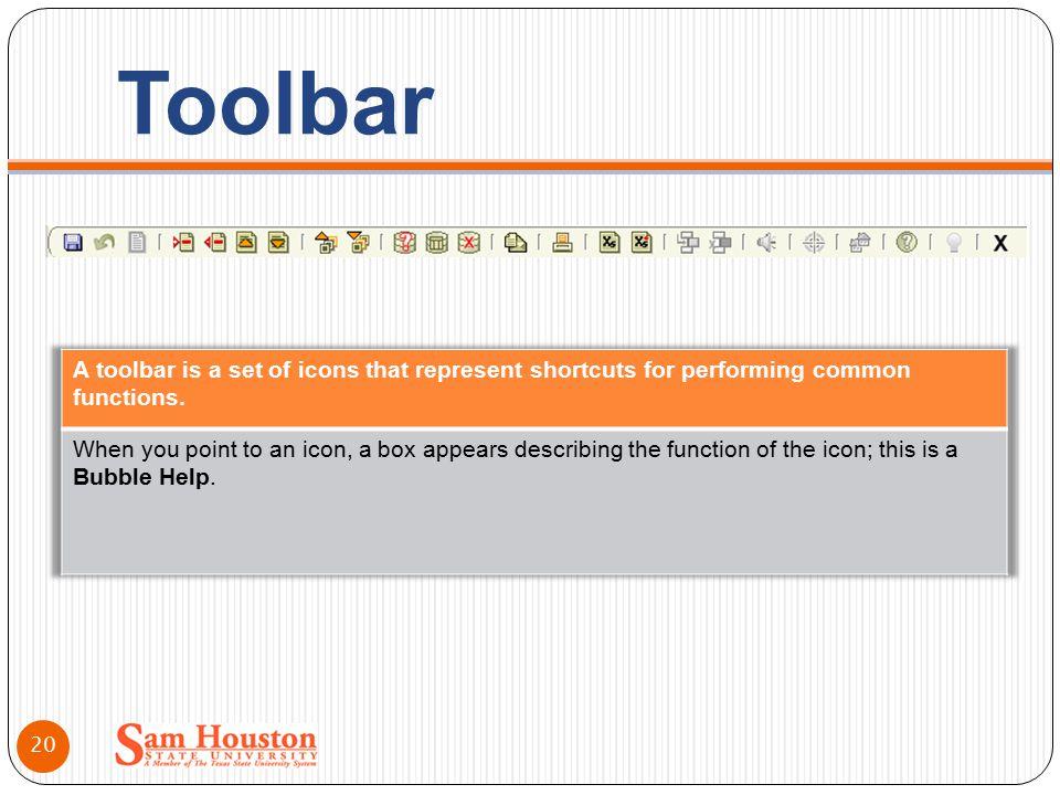 Toolbar 20
