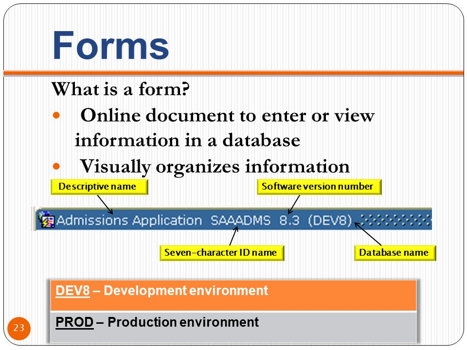 Forms What is a form? Online document to enter or view information in a database Visually organizes information Descriptive name Seven-character ID na