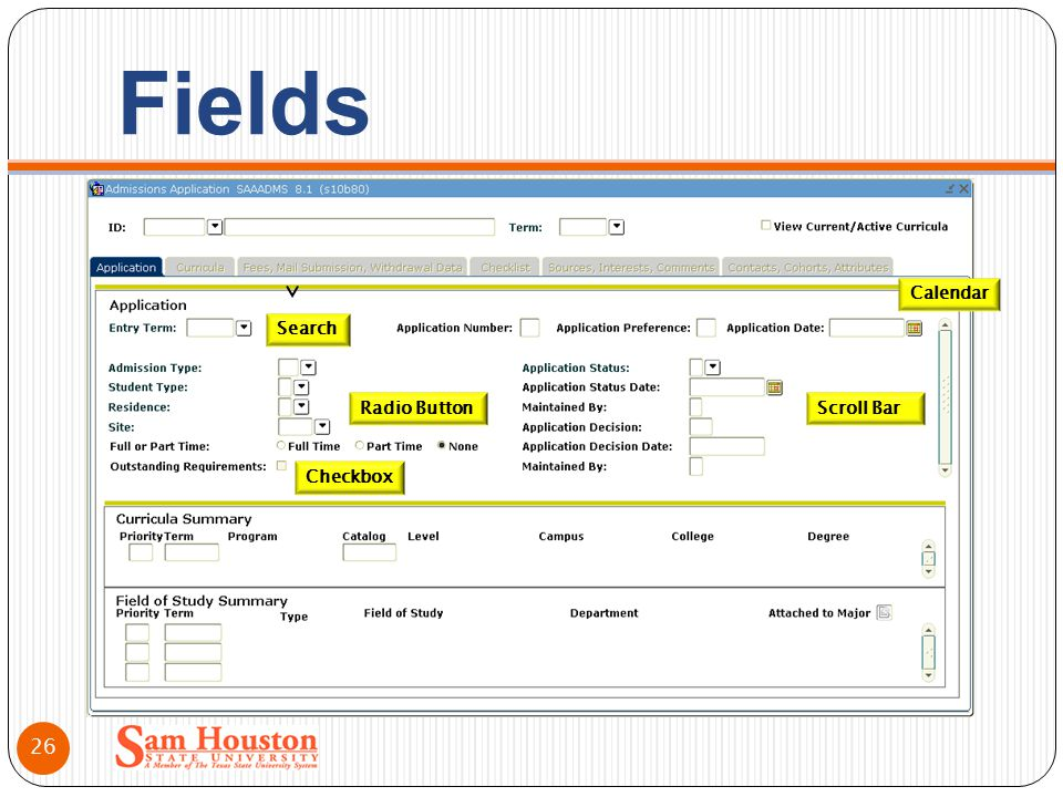 Fields Search Checkbox Radio Button Calendar Scroll Bar 26