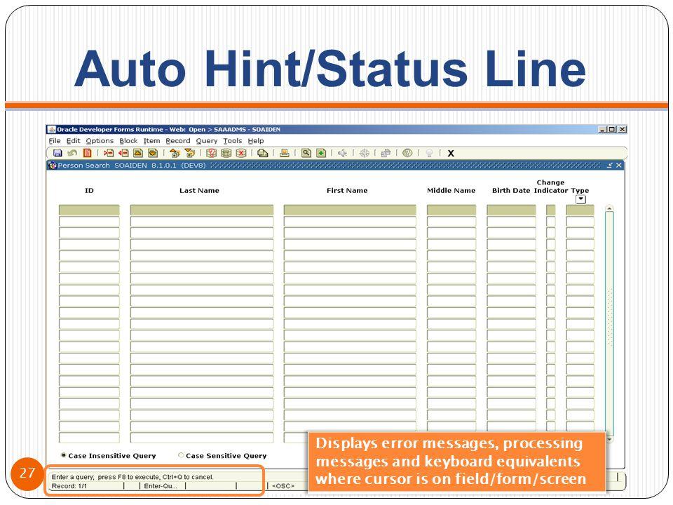 Auto Hint/Status Line 27