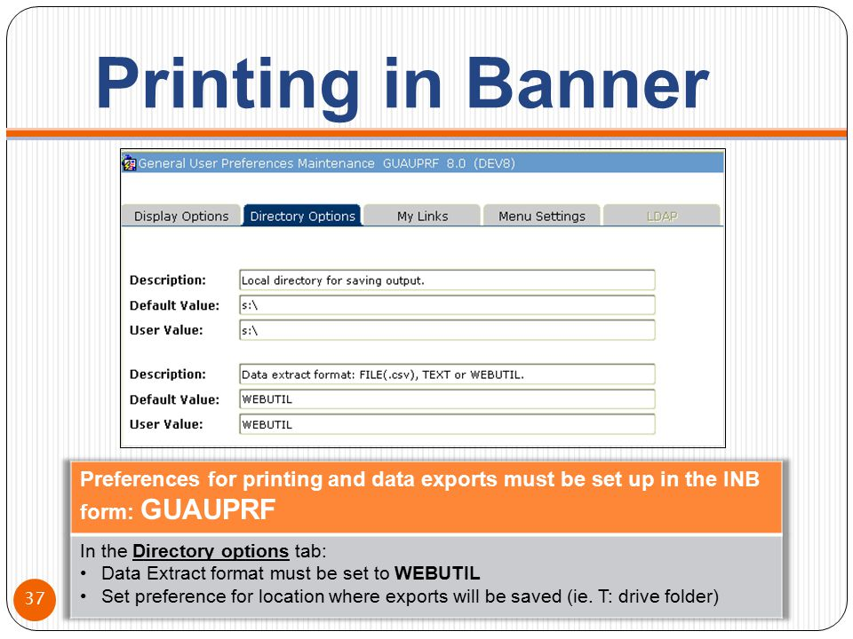 Printing in Banner 37