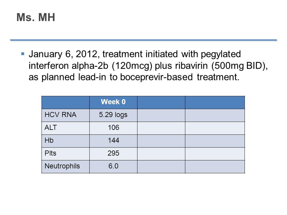 Ms. MH  January 6, 2012, treatment initiated with pegylated interferon alpha-2b (120mcg) plus ribavirin (500mg BID), as planned lead-in to boceprevir