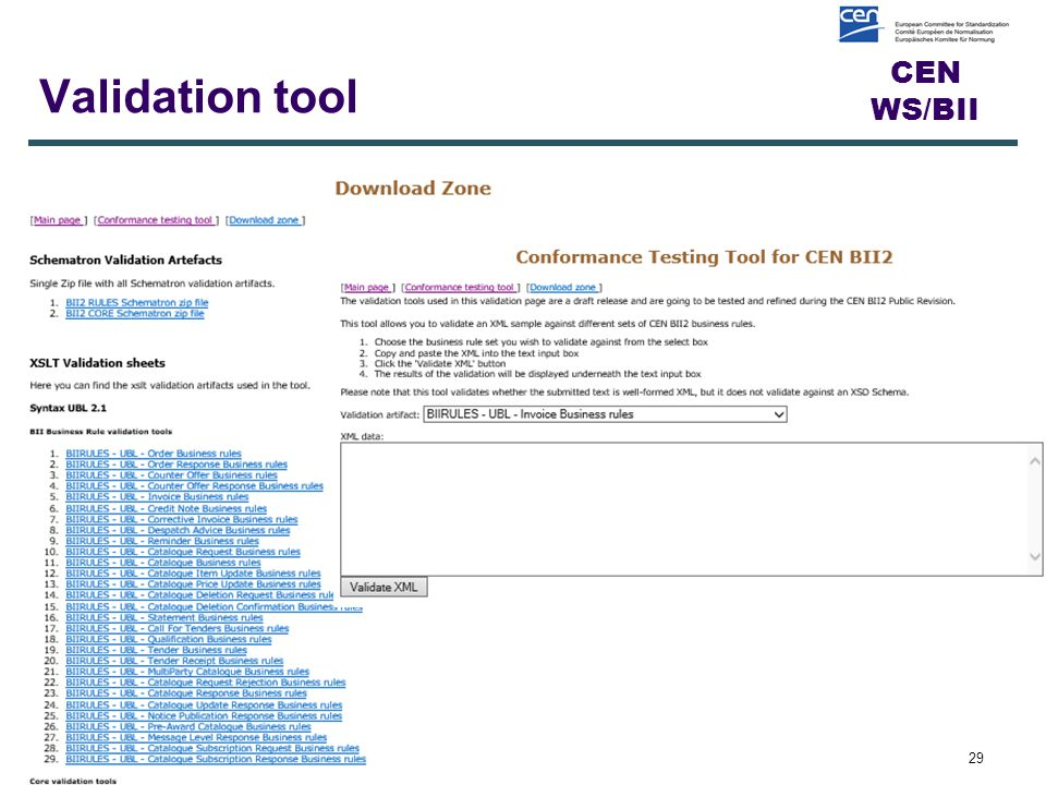 CEN WS/BII Validation tool 29