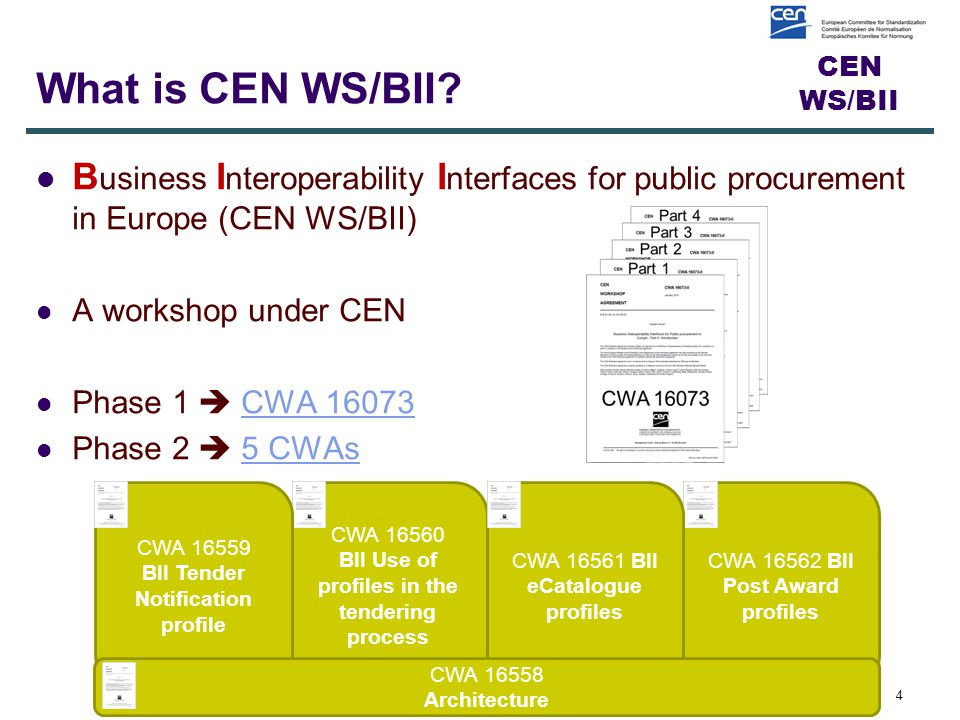 CEN WS/BII What is CEN WS/BII.