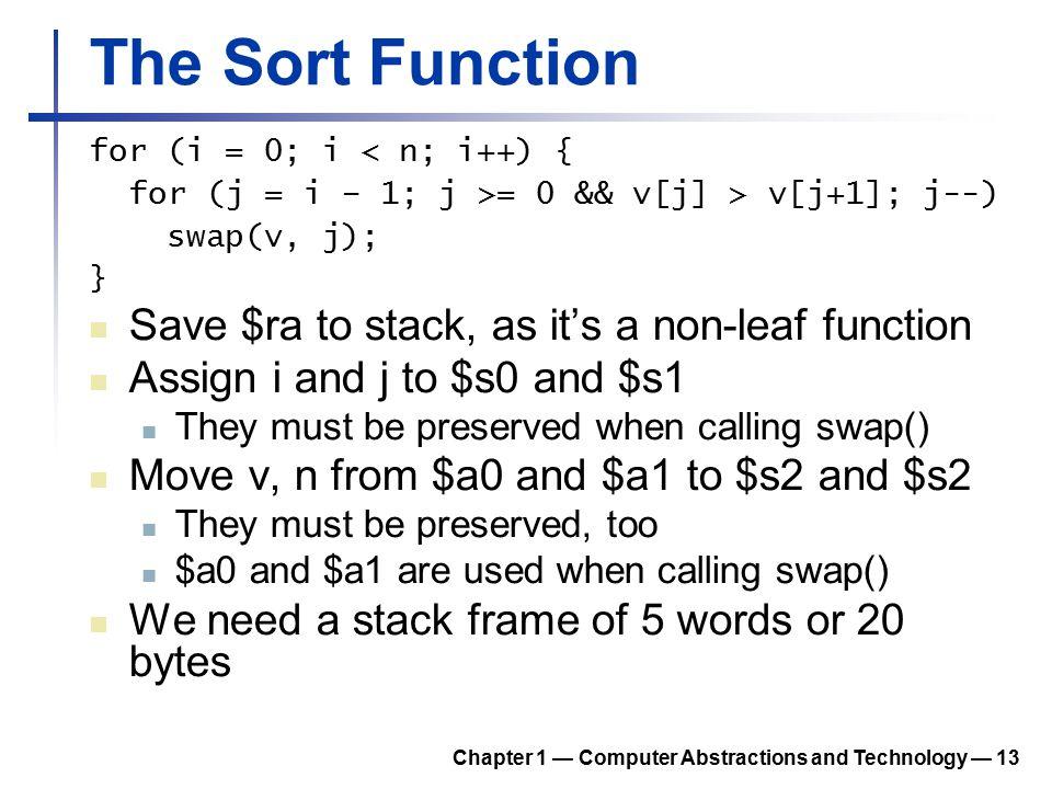 The Sort Function for (i = 0; i < n; i++) { for (j = i – 1; j >= 0 && v[j] > v[j+1]; j--) swap(v, j); } Save $ra to stack, as it's a non-leaf function