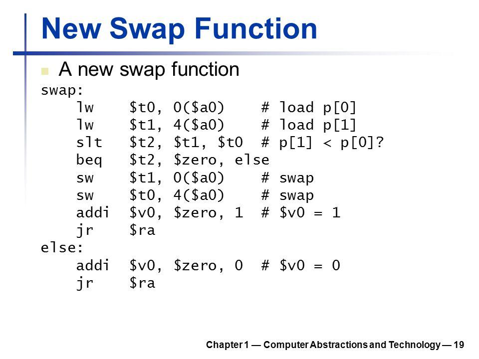 New Swap Function A new swap function swap: lw $t0, 0($a0) # load p[0] lw $t1, 4($a0) # load p[1] slt $t2, $t1, $t0 # p[1] < p[0]? beq $t2, $zero, els