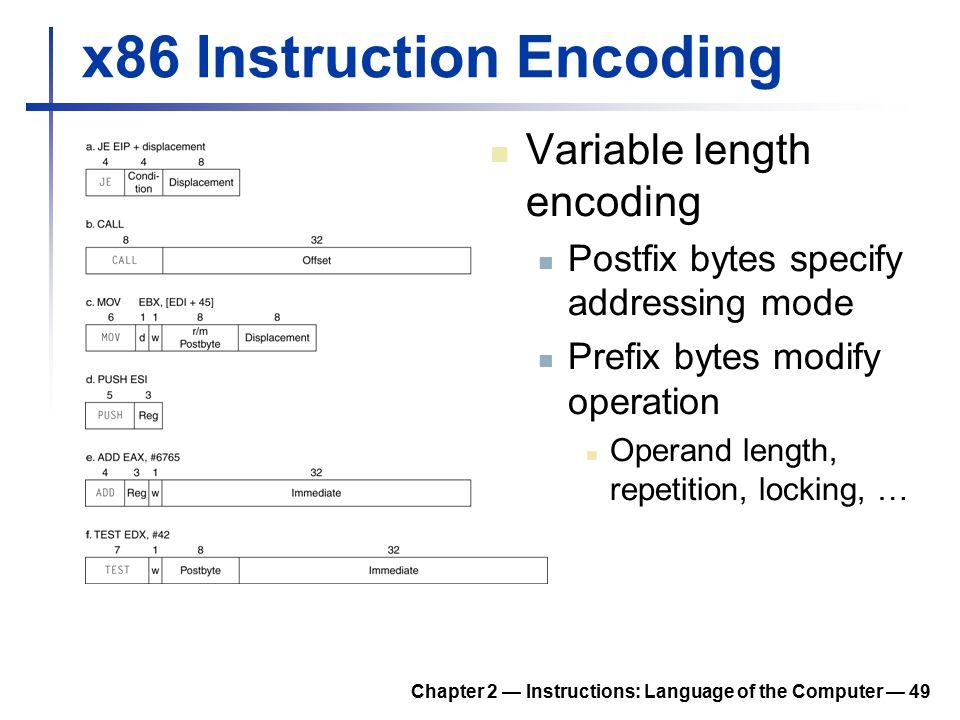 Chapter 2 — Instructions: Language of the Computer — 49 x86 Instruction Encoding Variable length encoding Postfix bytes specify addressing mode Prefix