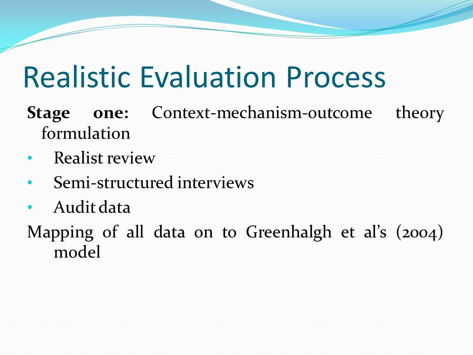 Realistic Evaluation Process Stage one: Context-mechanism-outcome theory formulation Realist review Semi-structured interviews Audit data Mapping of all data on to Greenhalgh et al's (2004) model