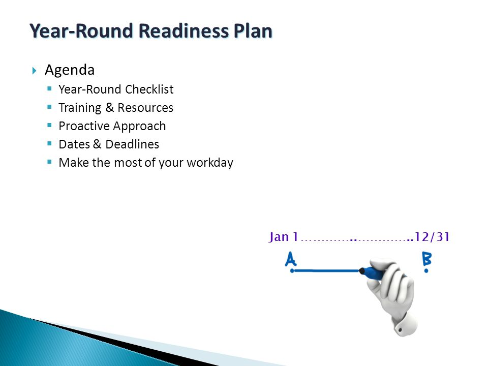  Agenda  Year-Round Checklist  Training & Resources  Proactive Approach  Dates & Deadlines  Make the most of your workday Year-Round Readiness Plan Jan 1…………..…………..12/31
