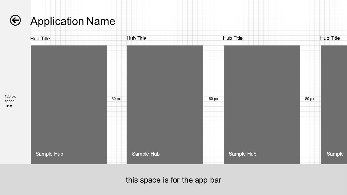 Sample Hub Application Name Hub Title 120 px space here 80 px Sample Hub this space is for the app bar Hub Title 80 px Sample 80 px Hub Title