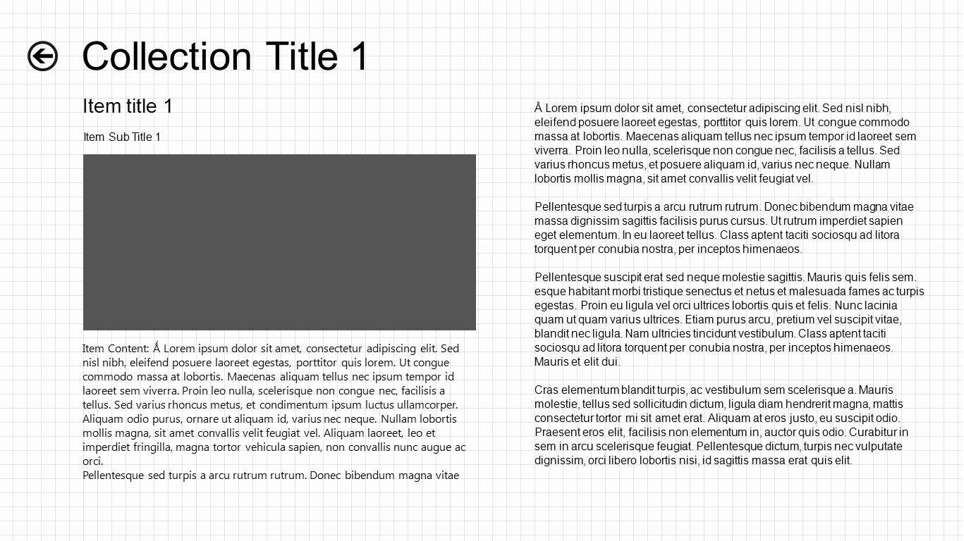 Collection Title 1 Item title 1 Item Sub Title 1 Item Content: Ǻ Lorem ipsum dolor sit amet, consectetur adipiscing elit.