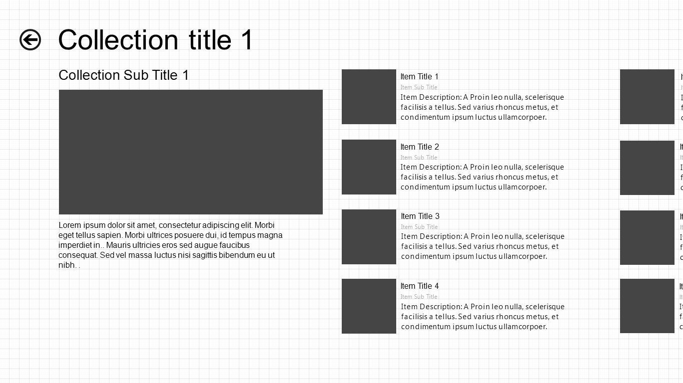 Collection title 1 Collection Sub Title 1 Item Title 1 Item Sub Title Item Description: A Proin leo nulla, scelerisque facilisis a tellus.